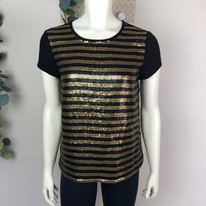 Adrianna Papell Sequin Blouse Gold & Black sz 6